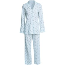 Carole Hochman Cotton Knit Pajamas - Long Sleeve (For Women) in Blue Print - Closeouts