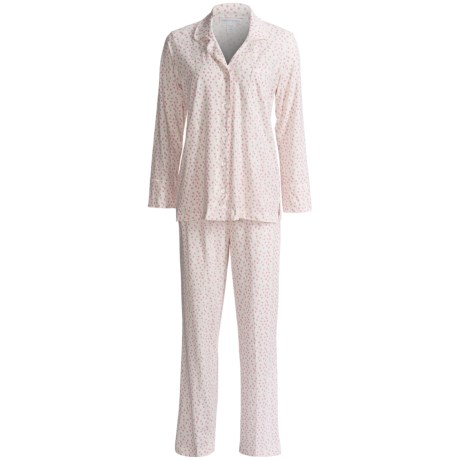 Carole Hochman Cotton Knit Pajamas - Long Sleeve (For Women) in Ivy Pink Floral