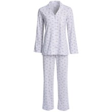 Carole Hochman Cotton Knit Pajamas - Long Sleeve (For Women) in Purple Print - Closeouts