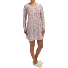Carole Hochman Floral Nightgown - Long Sleeve (For Women) in Pink Floral - Closeouts