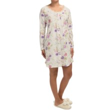 Carole Hochman Floral Nightgown - Long Sleeve (For Women) in White Floral - Closeouts