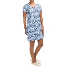 Carole Hochman Floral Nightgown - V-Neck, Short Sleeve (For Women) in White Rose - Closeouts