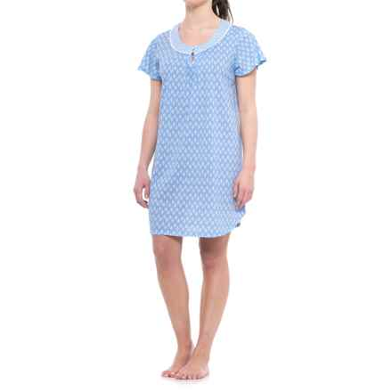 Carole Hochman Floral Print Nightgown - Short Sleeve (For Women) in Navy Floral Print - Closeouts