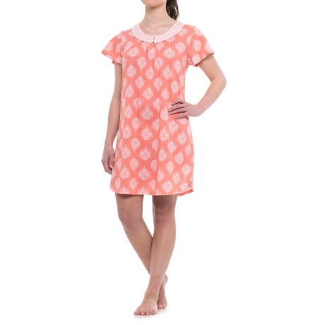 Carole Hochman Floral Print Nightgown - Short Sleeve (For Women) in Pink Print