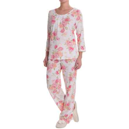 Carole Hochman Floral-Print Pajamas - 3/4 Sleeve (For Women) in C01 Peachy Floral - Closeouts