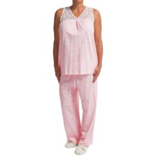 Carole Hochman Garden Fern Capri Pajamas - Sleeveless (For Women) in Garden Fern Pink - Closeouts