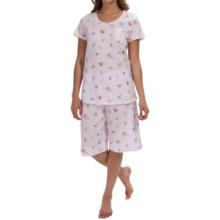 Carole Hochman Garden Medley Pajamas - Bermuda Shorts, Short Sleeve (For Women) in Twin Violet - Overstock