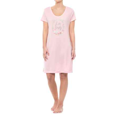Carole Hochman Graphic Sleep Shirt - Short Sleeve (For Women) in Pink Live Simply - Closeouts