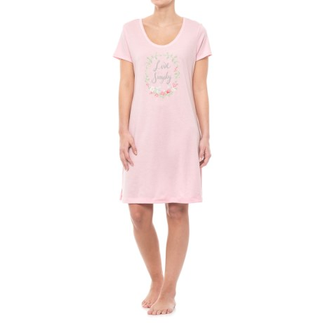 Carole Hochman Graphic Sleep Shirt - Short Sleeve (For Women) in Pink Live Simply