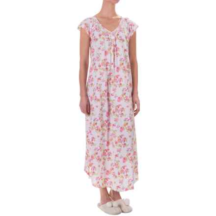 Carole Hochman Graphite Flowers Nightgown - Short Flutter Sleeve (For Women) in Coral Island Of Bouquets - Closeouts