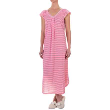 Carole Hochman Graphite Flowers Nightgown - Short Flutter Sleeve (For Women) in Fresh Coral Stripe - Closeouts