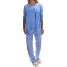 Carole Hochman Heavenly Soft Pajamas - Cotton Jersey, Short Sleeve (For Women) in Persian Jewel/Floral - Overstock