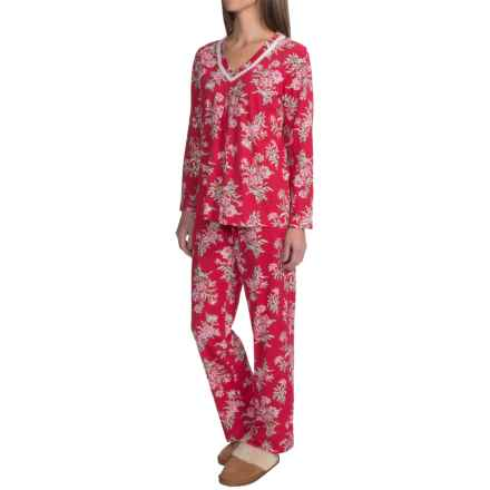 Carole Hochman Holiday Bouquet Cotton Pajamas - Long Sleeve (For Women) in Red Tied Bouquet - Closeouts
