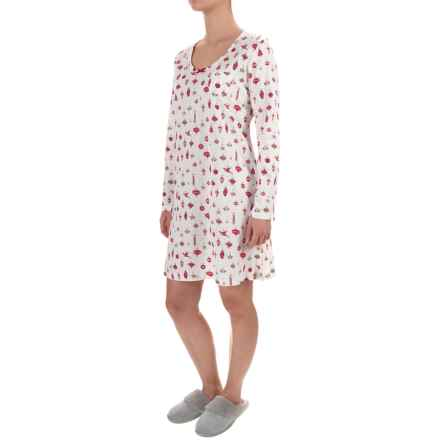 Carole Hochman Holiday Bouquet Nightshirt - Long Sleeve (For Women) in White W/Ornament - Closeouts