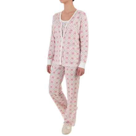 Carole Hochman Holiday Bouquet Pajamas - 3-Piece Set, Long Sleeve (For Women) in White Medallians - Closeouts