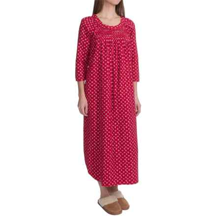 Carole Hochman Holiday Landscape Flannel Nightgown - Long Sleeve (For Women) in Red Falling Pinecones - Closeouts
