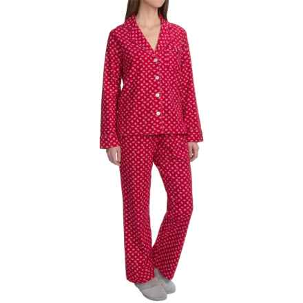 Carole Hochman Holiday Landscape Flannel Pajamas - Long Sleeve (For Women) in Red Falling Pinecones - Closeouts