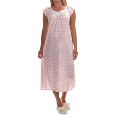 Carole Hochman Jersey-Knit Long Nightgown - Short Sleeve (For Women) in Pink Floral Print - Overstock