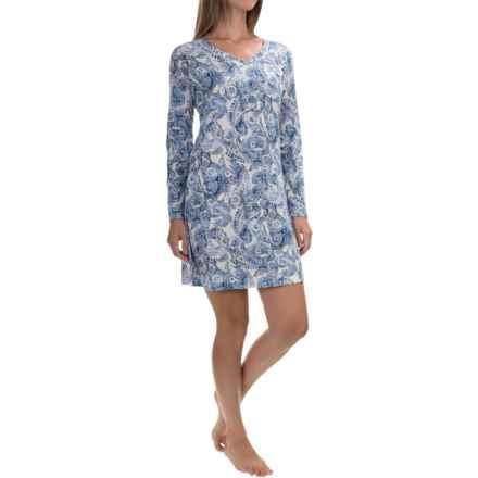 Carole Hochman Jersey-Knit Nightgown - Long Sleeve (For Women) in Blue Paisley - Overstock
