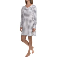 Carole Hochman Jersey-Knit Nightgown - Long Sleeve (For Women) in White Blue Floral Print - Overstock