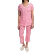 Carole Hochman Jersey Knit Pajamas - Short Sleeve (For Women) in Pink Butterflies - Closeouts