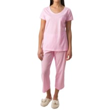 Carole Hochman Jersey Knit Pajamas - Short Sleeve (For Women) in Pink Hearts - Closeouts