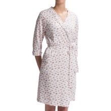 Carole Hochman Jersey-Knit Short Robe - 3/4 Sleeve (For Women) in White Floral Print - Closeouts