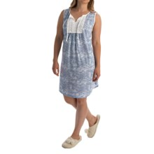 Carole Hochman Jersey-Knit Tassel Nightgown - Sleeveless (For Women) in Blue Stripe - Overstock