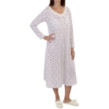 Carole Hochman Jersey Nightgown - Long Sleeve (For Women) in Rose Bud Ditsy - Closeouts