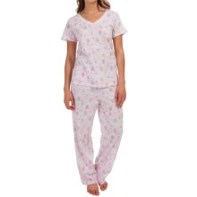 Carole Hochman Jersey Pajamas - Short Sleeve (For Women) in Watering Flowers - Overstock