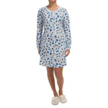 Carole Hochman Joy to the World Pajama Shirt - Long Sleeve (For Women) in Holiday Pearls Blue - Closeouts