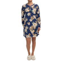 Carole Hochman Joy to the World Pajama Shirt - Long Sleeve (For Women) in Winter Blossom Navy - Closeouts