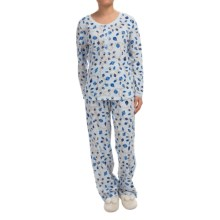 Carole Hochman Joy to the World Pajamas - Long Sleeve (For Women) in Holiday Pearls Blue - Closeouts