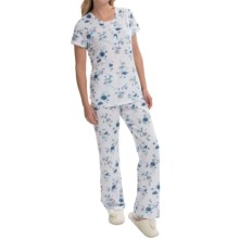 Carole Hochman Knit Pajamas - 2-Piece, Short Sleeve (For Women) in Garden Daisies - Closeouts