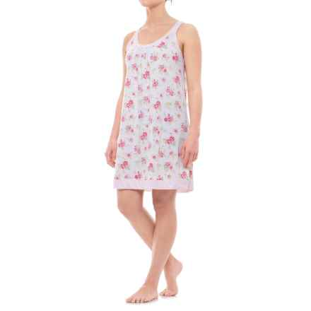 Carole Hochman Lace Applique Collar Chemise Nightgown - Sleeveless (For Women) in Rose Garden - Closeouts