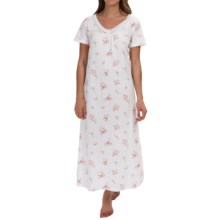 Carole Hochman Lace Trim Nightgown - Short Sleeve (For Women) in Branches White - Overstock