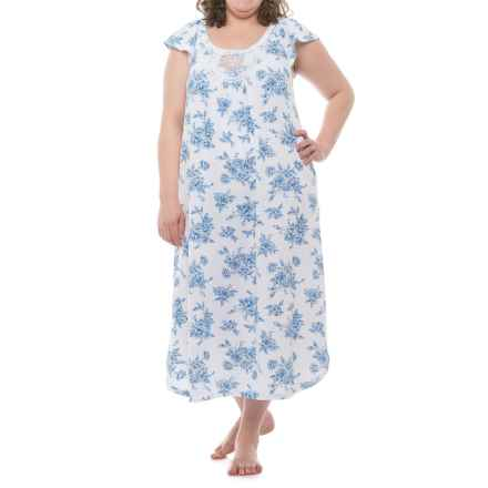 Carole Hochman Lace Trim Nightgown - Short Sleeve (For Women) in White/Blue Floral - Closeouts