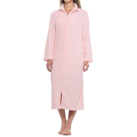 Carole Hochman Long-Zip Robe - Long Sleeve (For Women) in Pink
