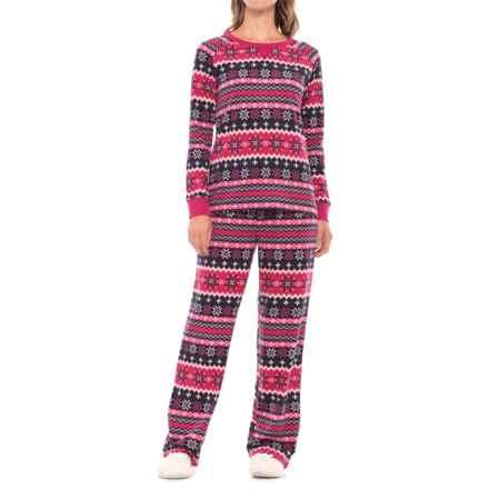 Carole Hochman Microfleece Pajamas - Long Sleeve (For Women) in Maryjane Fairisle - Closeouts