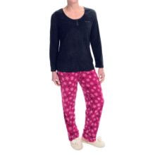 Carole Hochman Microfleece Pajamas - Long Sleeve (For Women) in Snowflake - Closeouts