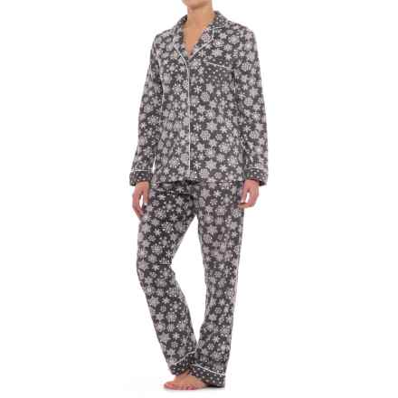 Carole Hochman Microfleece Shirt and Pants Pajamas - Long Sleeve (For Women) in Falling Snowflakes - Closeouts