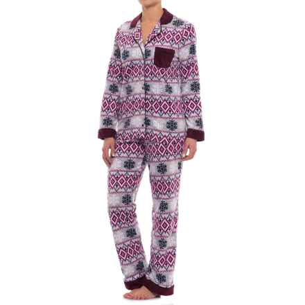 Carole Hochman Microfleece Shirt and Pants Pajamas - Long Sleeve (For Women) in Snowflake Fairisle - Closeouts