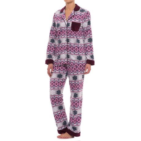 Carole Hochman Microfleece Shirt and Pants Pajamas - Long Sleeve (For Women) in Snowflake Fairisle