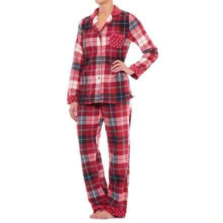 Carole Hochman Microfleece Shirt and Pants Pajamas - Long Sleeve (For Women) in Winter Plaid - Closeouts
