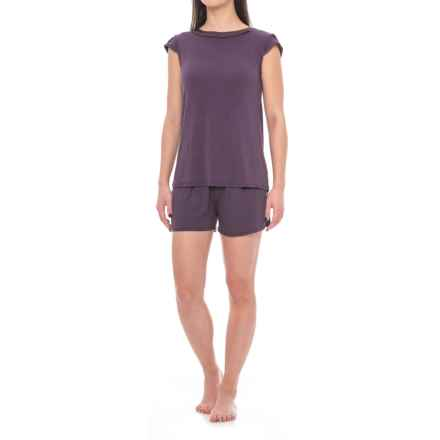 Carole Hochman Midnight by  Pajamas - Short Sleeve (For Women) in Eggplant - Closeouts
