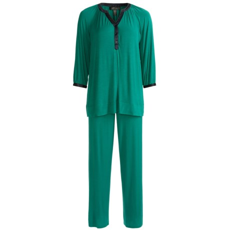 Carole Hochman Midnight Timeless Love Pajamas - Stretch Modal, Long Sleeve (For Women) in Rain Forest