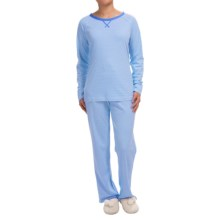 Carole Hochman Paisley Foulard Pajamas - Long Sleeve (For Women) in Sugard Stripe Periwinkle - Closeouts