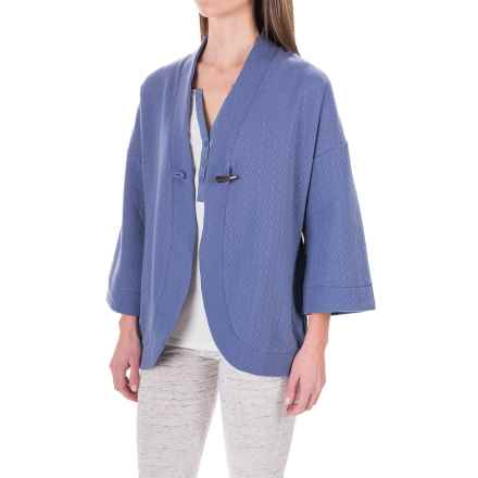 Carole Hochman Pajama Shirt - Open Front, Long Sleeve (For Women) in Medium Blue - Closeouts