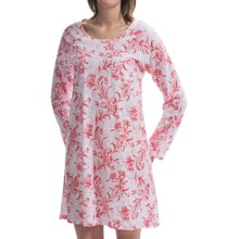 Carole Hochman Printed Cotton Jersey Nightshirt - Long Sleeve (For Women) in Full Bloom - Closeouts