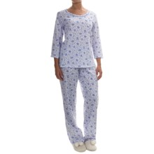 Carole Hochman Printed Cotton Jersey Pajamas - Elbow Sleeve (For Women) in Garden - Overstock